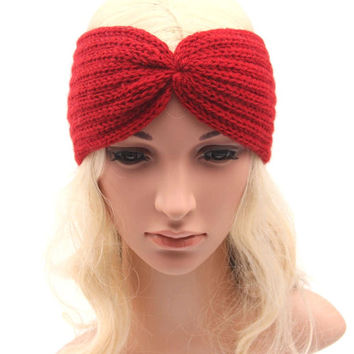Knit Earwarmer Turban Headband Chunky Headband Yoga Headband Fitness Headband Running Headband  Women Teen to Adult Gift Ideas