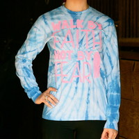 WALK BY FAITH (PINK) BLUE TIE DYE LONGSLEEVE