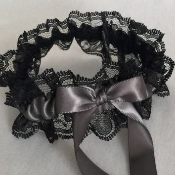 Pewter and Black Lace Wedding Garter, Prom Garter, Bridal Garter, Weddings, Bridesmaid Gift, Homecoming Garter, Bridal Gift