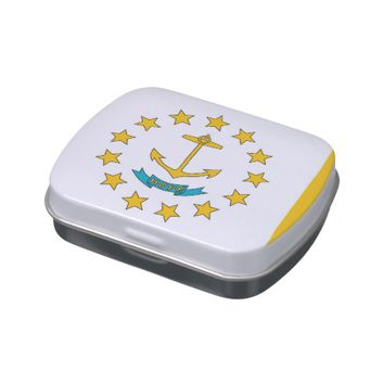Patriotic candy tins with Flag of Rhode Island