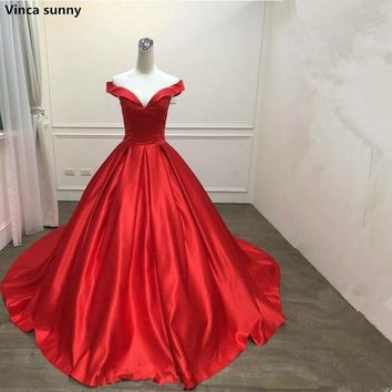 Vinca sunny 2018 new Off shoulder party prom dress Vestido de Festa ball gown satin lace-up style Satin Evening Prom Dresses