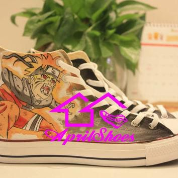 Cool Naruto Converse, Custom Naruto Sneakers, Naruto Uzumaki Hand Painted Shoes High
