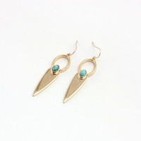 Minimalist Boho Arrow Earrings with Green Stone by Fashnin.com