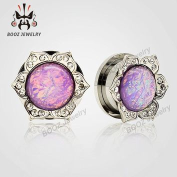 2016 2pcs pair pink ear plugs piercing tunnel stainless steel crystal body jewelry flash ear gagues changing colors stone design