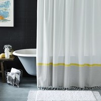 Stripe Border Shower Curtain – Stone White/Citron