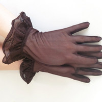 Vintage Gloves Brown Gloves Sheer Gloves Mesh Gloves Ruffled Gloves Fancy Gloves Short Gloves Women's Gloves Glove Size 6
