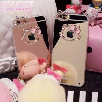 Luxury hello kitty mirror Rhinestone Case for iphone 6 Cases 5s 5 6s 6 plus iPhone 7 Plus case diamond Soft TPU Phone Cases