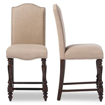 Baxton Studio Zachary Chic French Vintage Oak Brown Beige Linen Fabric Upholstered Counter Height Dining Chair Set of 2