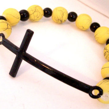 Cross Bracelet with Sideways Cross Pendant, Yellow and Black Beads