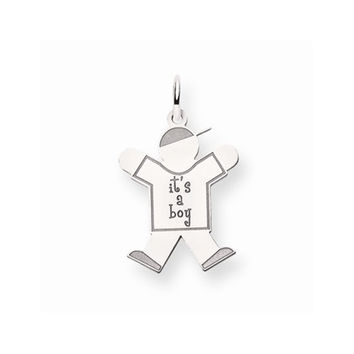 14k White Gold Its a Boy Joy Charm