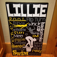Personalized Wooden Swim Swimmer Teen Sign