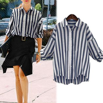 Fashion Blue White Striped Women Blouses Summer Sleeve Office Shirts Ladies Casual Chiffon Blouse Clothes