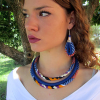 Cobalt-Blue Kente Set - African Jewelry  Earrings Bracelet Necklace Set