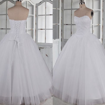 Long White Ball Grown Tulle Wedding Dresses,Simple Sweetheart Bridal Grown Wedding Dresses