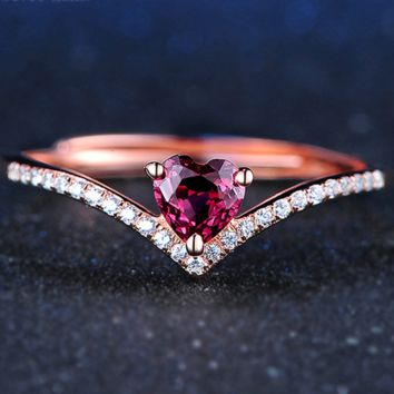 Natural Teardrop Red Garnet Ring 925 Sterling Silver Jewelry Rose Gold Romantic Wedding Band LMRI024