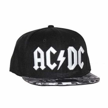 AC/DC Black Wool Blend Flat Bill Hat Sublimated Visor