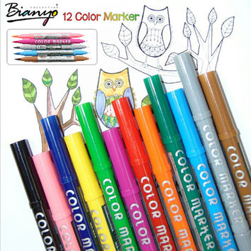 12 Soluble Colors Double Headed Copic Markers Water Soluble Paints Dual Brush Pen Maker Brush Animation Design Copic Sketch Markers Brush