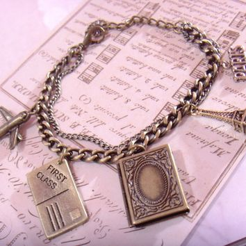 vintage style book shape locket charm with little camera paris eiffle tower post card pendant bracelet chain with gift box for you