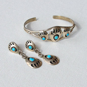 Native American Silver Bear Claw Bracelet & Earrings Set. Vintage.Turquoise. Sterling.