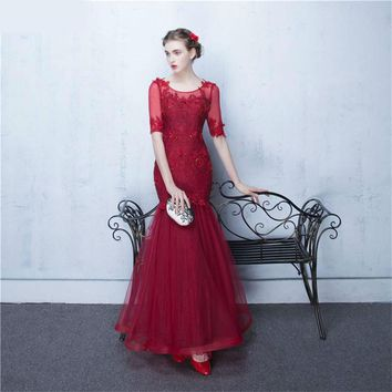 Red Half Sleeve Evening Dresses Winter Mermaid Evening Party Dress Women Key Hole Corset Wind Red Evening Gown