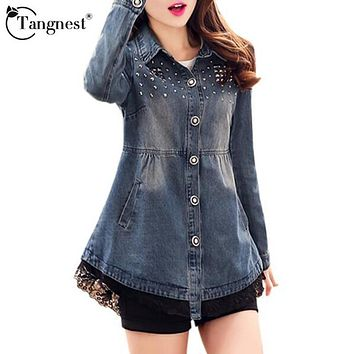 TANGNEST Women Denim Jacket 2017 New Spring Autumn Rivet Lace Hem Turn-down Collar Fashion Style Jackets Abrigos Mujer WWJ532