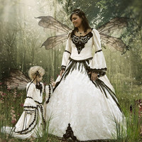 Cream and Black Fairy Medieval Gothic Wedding by RomanticThreads