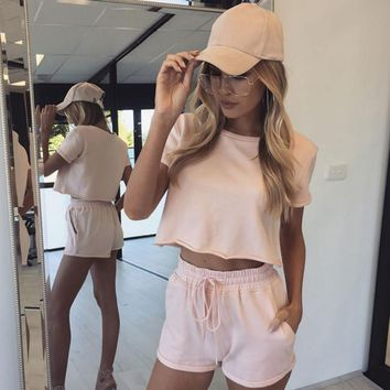 Casual Summer Round-neck Pullover Short Sleeve Shorts Sportswear Set [13536034842]