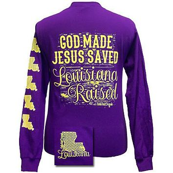 Girlie Girl Originals Louisiana Raised, Jesus Saved Chevron State Bright Long Sleeves T Shirt