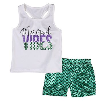 2pcs Newborn Infant Baby Kids Summer Outfits Babies Girls Kids Letter VIBES Vest Tops+print Mermaid short pants Outfit Sets