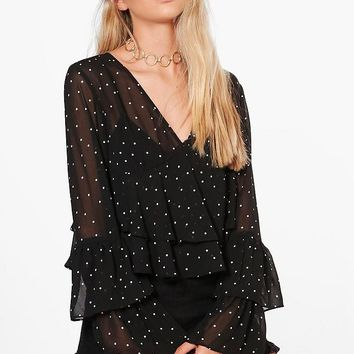 Sophie Plunge Ruffle Spot Blouse | Boohoo