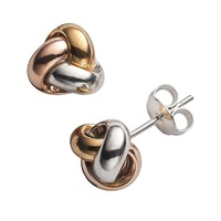 14k Gold Over Silver Tri-Tone Love Knot Stud Earrings (Yellow)