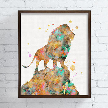 Lion Watercolor Print, Lion Art, Lion Painting, African Animals, Wildlife, Animal Decor, Kids Room, Childrens Room, Nursery Decor, Safari