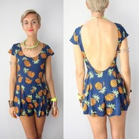 NAVY TROPICAL PINEAPPLE PRINTS SCOOP LOW BACK BACKLESS PLAYSUIT JUMPSUIT 8 10 12