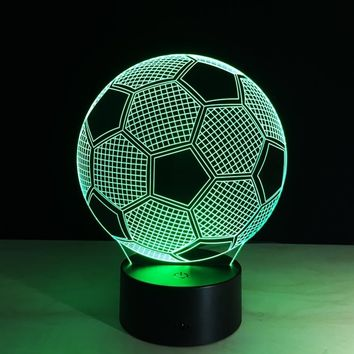 Novelty Home Decor 3D 7 Colors Changing Soccer Football Shaped Table Desk Night Light USB