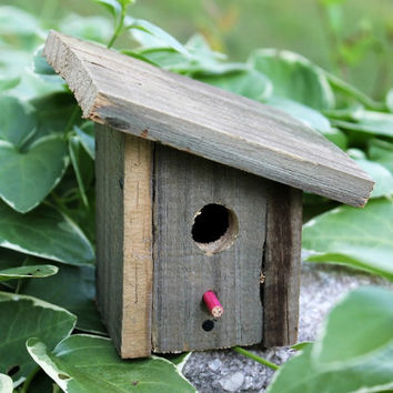 Rustic Recycled Wood Miniature Birdhouse - upcycled slant roof bird house  - reclaimed barn wood