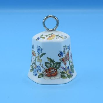 Aynsley Cottage Garden Bell Vintage Silver Ring Made in England Butterflies Wild Flowers Bell English Bone China Gift for Her Wedding Decor