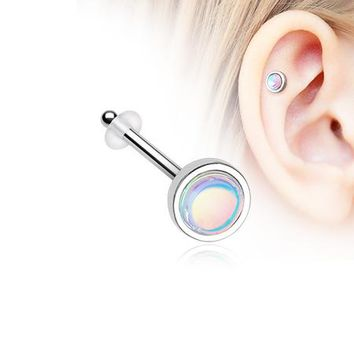 Bezel Set Iridescent Revo Sparkle Piercing Stud with O-Rings
