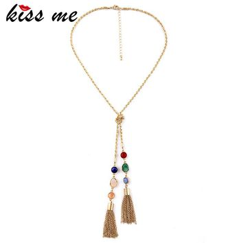 Long Alloy Dazzle Color Imitation Gems Female Tassel Pendant Necklace Factory Wholesale