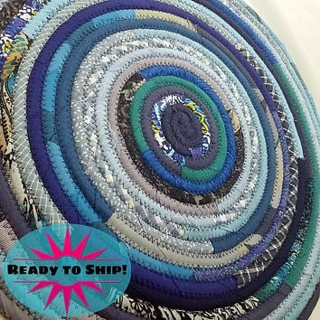 """R2S Handmade Bohemian Table Mat 18"""" Round Shades of Blue Ready to Ship"""