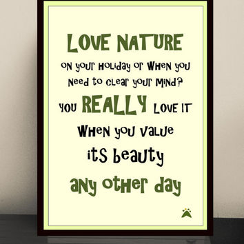 Typography art print for nature lover, Typography print, Wall art, Nature prints, Quote prints, Nature lover gift, Typography quote poster