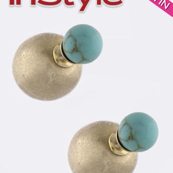 Turquoise Crackled Stone Double-Sided Earrings (As seen in InStyle Magazine)