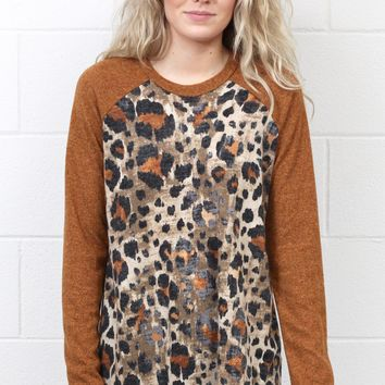 Jungle Fever Contrast Sleeve Knit Sweater {Camel}
