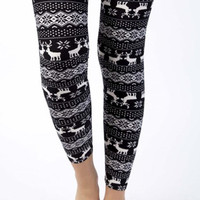 Fair Isle Flair Printed Legging - Black