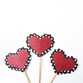 Polka Dot Glitter Heart Cupcake Toppers - 12 Black, White, Red, Valentine's Toppers - Valentine's Day Decor // Birthday Party