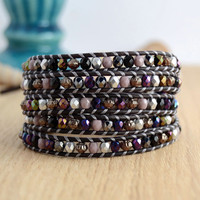 Metallic purple and silver long wrap bracelet. Beaded bohemian chic jewelry