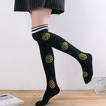 Pineapple, Watermelon, Milk, Bread, Flamingo Food & Animal Over The Knee Thigh Socks - Women High Socks