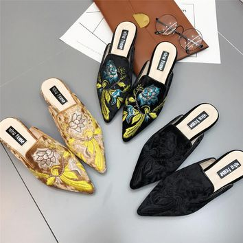 2017 Women Embroidery Velet Mules Fur Slides Chiara Ferragni Furry Slipper Med Heel Fl