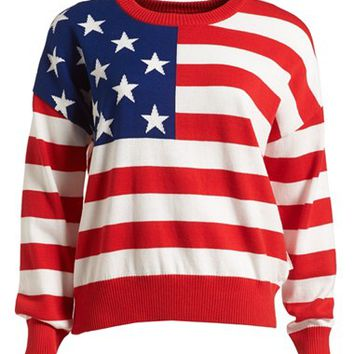 :CHOCOOLATE US Flag Knit Sweater (Women)