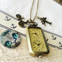 Double dial Steampunk Pocket Watch necklace - bike, plane