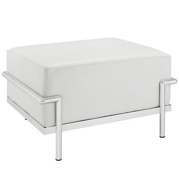 Le Corbusier Style LC3 Ottoman White Leather